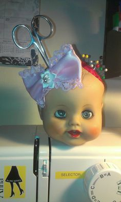 Doll Head Pin cushion by MissPiperLees on Etsy