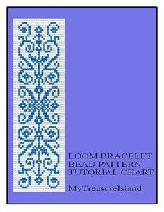 Bead Loom Vintage Motif in Blue Bracelet Pattern Tutorial Chart PDF