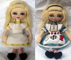 Easy to make cloth doll with weighted seat design, 2 piece fully dimensional head with fabric covered bead nose, built-in clothing, symbol templates for Wonderland & Looking Glass pinafore appliques. CD includes 60 pages of step-by-step color photos, written instructions + 2 full size printable pattern sheets.