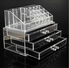 Cosmetic Organizer Clear Acrylic Make Up Drawers Holder Case Box Jewelry Storage in Health & Beauty, Make-Up, Make-Up Cases & Bags | eBay
