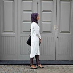 INAYAH | Modest Work #Shirt + Charcoal Georgette #Hijab + Ash Grey Straight Cut #Trousers