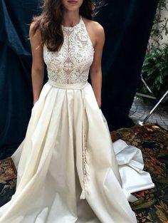 Elegant A-Line Halter White Lace Long Wedding/Prom Dress,Sleeveless prom dress,