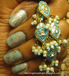 Bollywood Peacock nails.