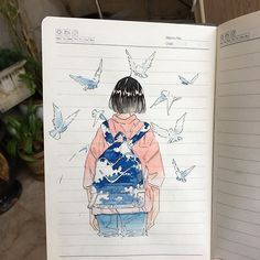 This is so talented  @ikedda I love that its done on lined paper too #notebooktherapy