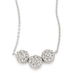 Hueb Three Flower Diamond & 18K White Gold Pendant Necklace ($1,530) ❤ liked on Polyvore featuring jewelry, necklaces, apparel & accessories, white gold, white gold diamond necklace, pave diamond pendant, diamond chain necklace, pendant necklaces and pave diamond necklace