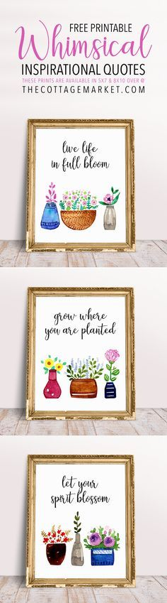It is Free Printable Friday and we have A Whimsical Free Printable! An adorable set of prints featuring the prettiest watercolor flower pots you have ever seen! These Free Printable Whimsical Inspira