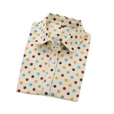 Womens Plus Size Polka Dot Cotton Blouse Shirt Top