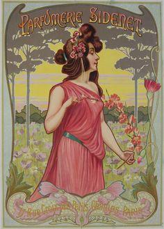 Parfumerie Sidenet 1900s Original Poster – Rue Marcellin Original Vintage French Poster Advertising for a Parisian Perfumer - beautiful Art Nouveau