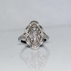 Estate 14k White Gold Diamond Cluster Ring, Deco Style, 1/3 CTW, Size 7, $295.