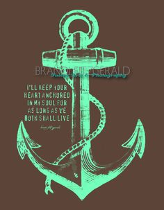 "Anchored In Happily Ever After, Two.  8"" x 10"" Marriage Anchor Quote Fusion Paintographic Fine Art Print by Brandi Fitzgerald. $20.00, via Etsy."