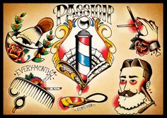 BARBER SHOP TATTOO FLASH