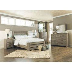 Check out our big seller in bedroom furniture. The Zelen 5 Piece Bedroom Set by Ashley Furniture. Gray rustic wood finish & beautiful contemporary lines!
