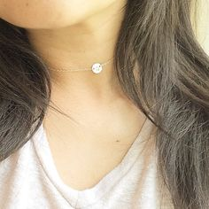 Personalized Choker Necklace with Initial Disc / by cocowagner