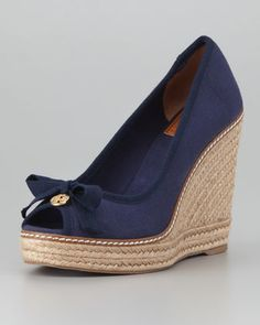 Jackie Peep-Toe Espadrille Wedge, Navy - Neiman Marcus Getting these for my Mom! Oh, yeah!