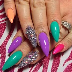 Love the different colors with rhinestone accent nails | decorado de unas | stiletto shaped nails | ongles | acrylic and gel nails