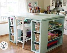 Craft Room Desk, Craft Room Tables, Diy Desk, Diy Table, Craft Tables With Storage, Craft Storage, Craft Room Organizing, Paint Storage, Sewing Craft Table