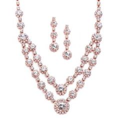 Mariell Blush Rose Gold 2 Row Rhinestone Crystal Necklace Earrings Prom for sale online Rose Gold Wedding Jewelry, Prom Jewelry, Bridesmaid Jewelry Sets, Bridal Jewelry Sets, Bridal Necklace, Bridesmaid Earrings, Rhinestone Necklace, Crystal Necklace, Crystal Rhinestone