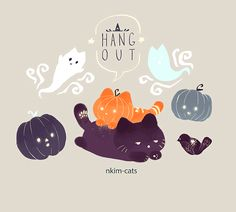 """A Pumpkin and a Witch hahaha suits me perfectly""‡※§ ""Without a doubt it does plus they are cats so that is a large plus""Ѯ∅♣ ""Exactly""‡※§ Cute Animal Drawings, Kawaii Drawings, Illustrations, Illustration Art, Halloween Illustration, Kawaii Cat, My Doodle, Cat Drawing, Neko"
