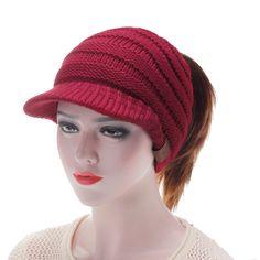 1bd526d9965cb Las mujeres de lana cálida sombreros de gorro de tejer suave casquillo de  gorrita tejida informal