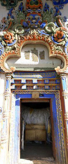 Ornate door in Gyantse, Tibet