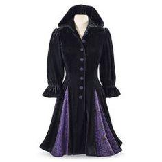 Hooded Godet Velvet Coat