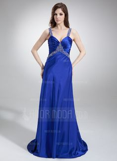 Prom Dresses - $144.99 - A-Line/Princess V-neck Sweep Train Charmeuse Prom Dress With Ruffle Beading (018002831) http://hochzeitstore.com/A-line-Princess-V-neck-Sweep-Train-Charmeuse-Prom-Dress-With-Ruffle-Beading-018002831-g2831