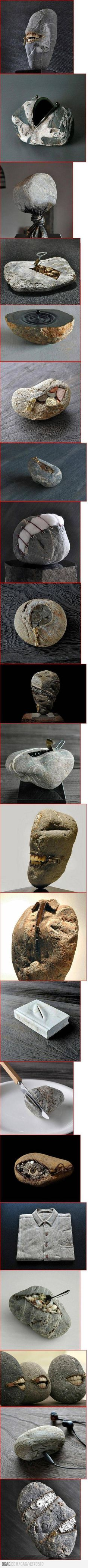 Art made with rocks! Hirotoshi Itoh uses rocks obtained in a river bank close to his house to make sculptures with an incredible sense of humor and structure.