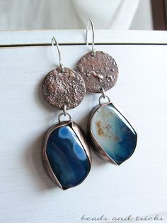 Reticulated copper, agate, sterling silver earrings | Handmade by Beads and Tricks