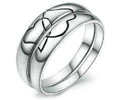 Black Engraved Heart 2 Heart Cheap Couple's Wedding Bands His and Hers Matching Promise Rings Set