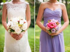 Love these purple, pink and white bouquets.  Photo Credit: A.J. Dunlap Photography