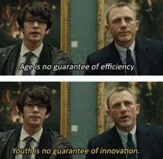 James Bond (Daniel Craig) meets the new Q (Ben Whishaw) in Skyfall.