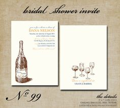 No 99 Wine Themed Bridal Shower Invitations 5 x 7 by modernmoments, $1.65