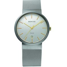 For Him: Bering Gents Titanium Case Silver Dial With Gold Batons/ Sapphire Crystal Glass S/Steel Mesh Band 50M