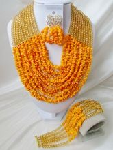 Lovely! Champagne Gold Crystal Orange Nigerian Beads Necklaces Wedding African Coral Beads Jewelry Set