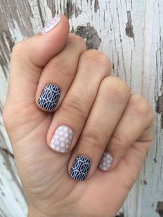 Mad Mod and Grey & White Polka Jamberry. http://jamminmomma79.jamberrynails.net/ Like me on Facebook at. https://m.facebook.com/jamminmomma79 #nailart #naildesign