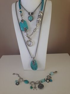 Love this turquoise for summer. DM me if you feel tempted. Designer Jewellery, Jewelry Design, Turquoise Necklace, Beaded Necklace, Pretty Necklaces, Dangles, Jewels, Beads, Bracelets