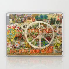 All You Need is Love - The Beatles - Imagine - John Lennon - Peace Sign Laptop & iPad Skin by Tara Holland  - $25.00