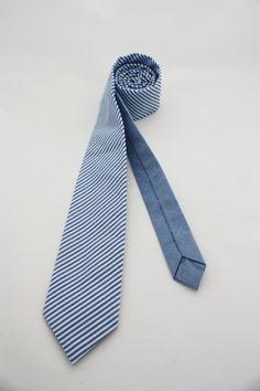 Blue Seersucker Necktie by WinslowHandmade on Etsy, $62.00