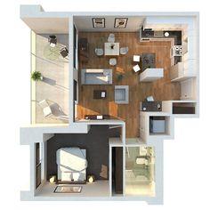 7 - apartamento de um quarto moderno