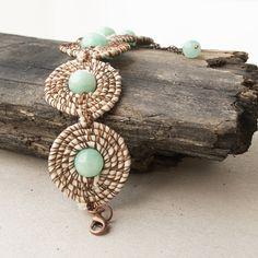 Fabric and wire jade bracelet - boho chic jewelry