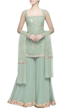 Buy Green zardozi kurta & sharara pants by Ohaila Khan at Aza Fashions This green kurta is embroidered with zardozi, sequin and handcrafted bead detailing. It is accompanied by flared sharara pants for the complete ethnic look. Party Wear Indian Dresses, Pakistani Wedding Outfits, Designer Party Wear Dresses, Pakistani Dresses Casual, Indian Gowns Dresses, Dress Indian Style, Indian Fashion Dresses, Pakistani Dress Design, Indian Outfits