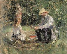 Morisot, Eugène Manet en zijn dochtertje in de tuin, 1883
