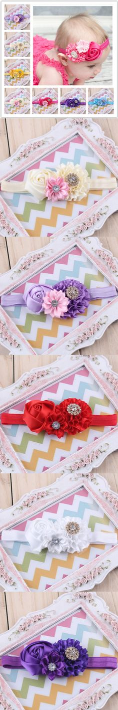 1PC Newborn Cute Pearl Rose Flower Headband Toddler Baby Headband Ribbon Elasticity Headwear Elastic Hair Band Accessories W023