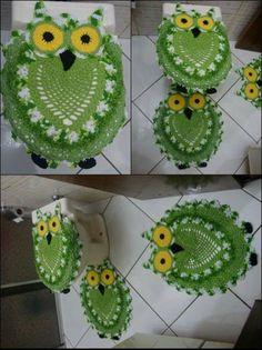 Conjunto de tapetes banheiro em crochê, coruja verde