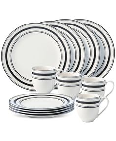 Lenox Around The Table Collection Stripe 12 Piece Place Setting
