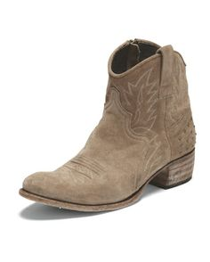 Embroidered suede ankle boots - Wrap - Suede ankle boots with an all over leaf-stitch pattern, trimmed with matte metallic studs at the heel. Upper 80% Suede 20% leather. Sole 100% leather. Imported.