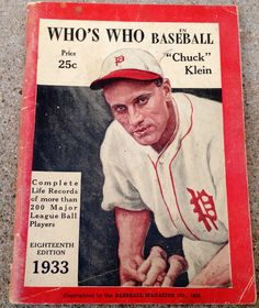 Vintage Original 1933 Who's Who In Baseball 18th Edition Chuck Klein