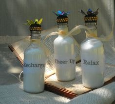 Use mini wine bottles to store bath salts! (or other bath and body products)