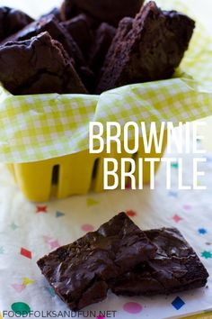 This is my Brownie Brittle Recipe that's made from a box mix for a quick and easy treat! I bet you have all the ingredients in your pantry now! Brownie Brittle Recipe - from a box mix Brownie Britt. Candy Recipes, Brownie Recipes, Sweet Recipes, Cookie Recipes, Bar Recipes, Baking Recipes, Yummy Recipes, Cookie Brittle Recipe, Brittle Recipes