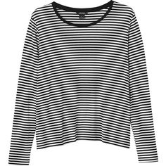 Monki Lucy top ($14) ❤ liked on Polyvore featuring tops, t-shirts, shirts, sleek stripes, stripe t shirt, t shirts, stripe shirt, striped tee and stripe top